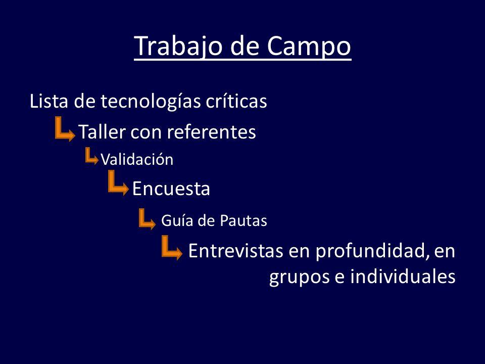 Trabajo de Campo Lista de tecnologías críticas Taller con referentes