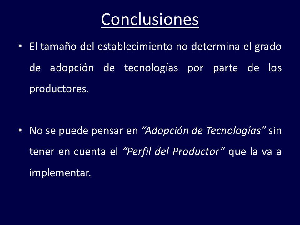 Conclusiones El tamaño del establecimiento no determina el grado de adopción de tecnologías por parte de los productores.