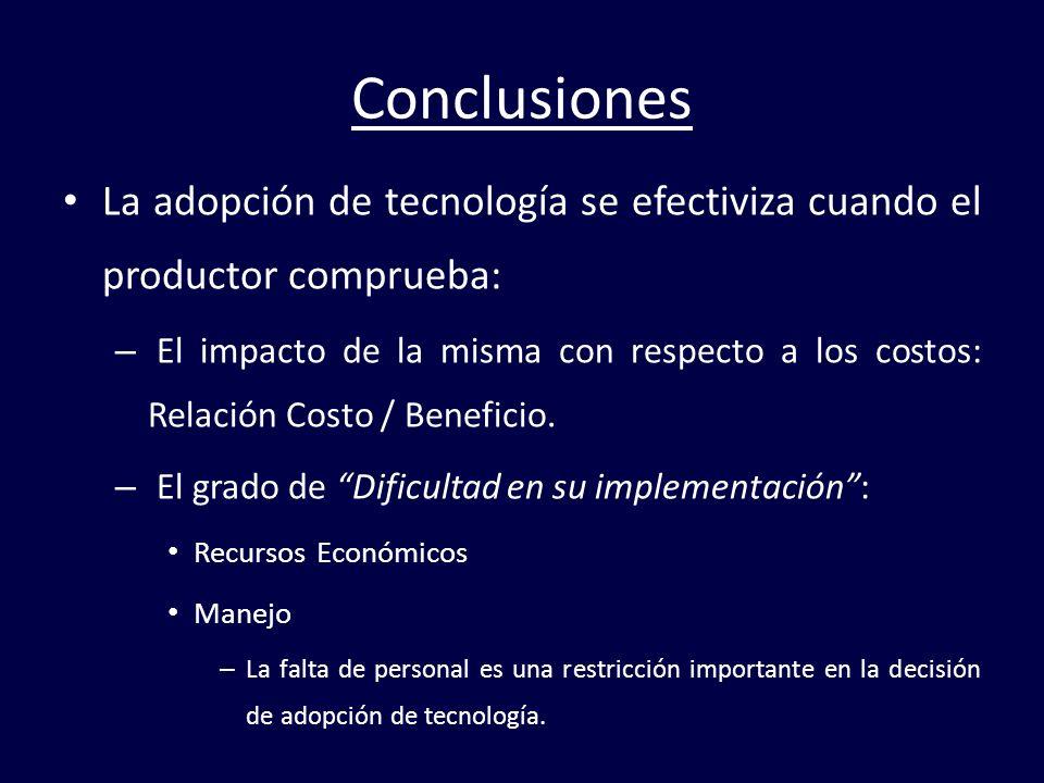 Conclusiones La adopción de tecnología se efectiviza cuando el productor comprueba: