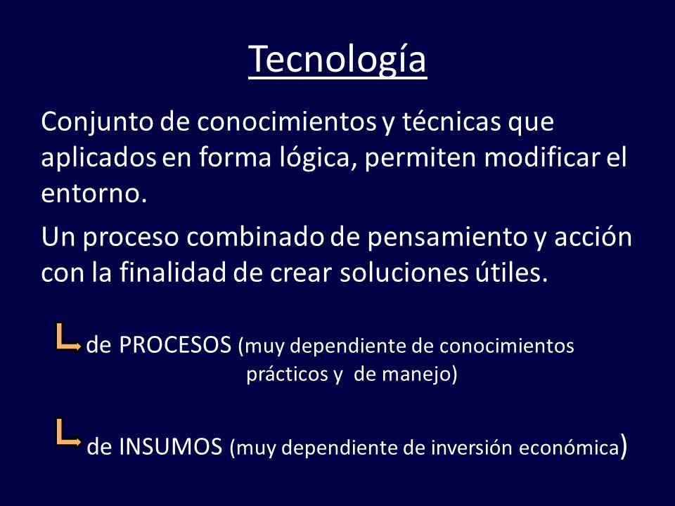Tecnología Conjunto de conocimientos y técnicas que aplicados en forma lógica, permiten modificar el entorno.