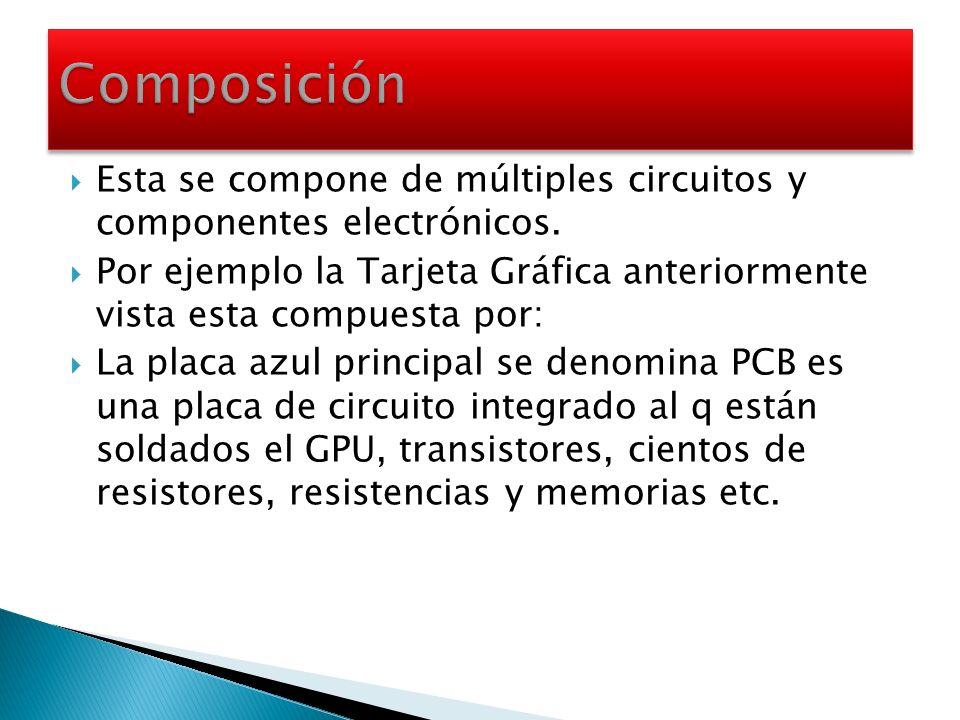 Composición Esta se compone de múltiples circuitos y componentes electrónicos.