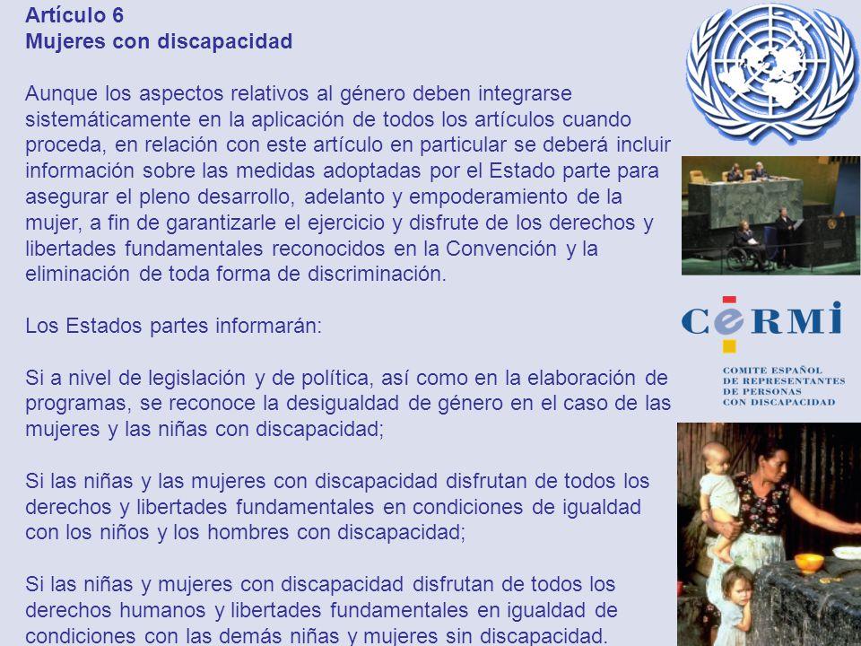 Artículo 6 Mujeres con discapacidad
