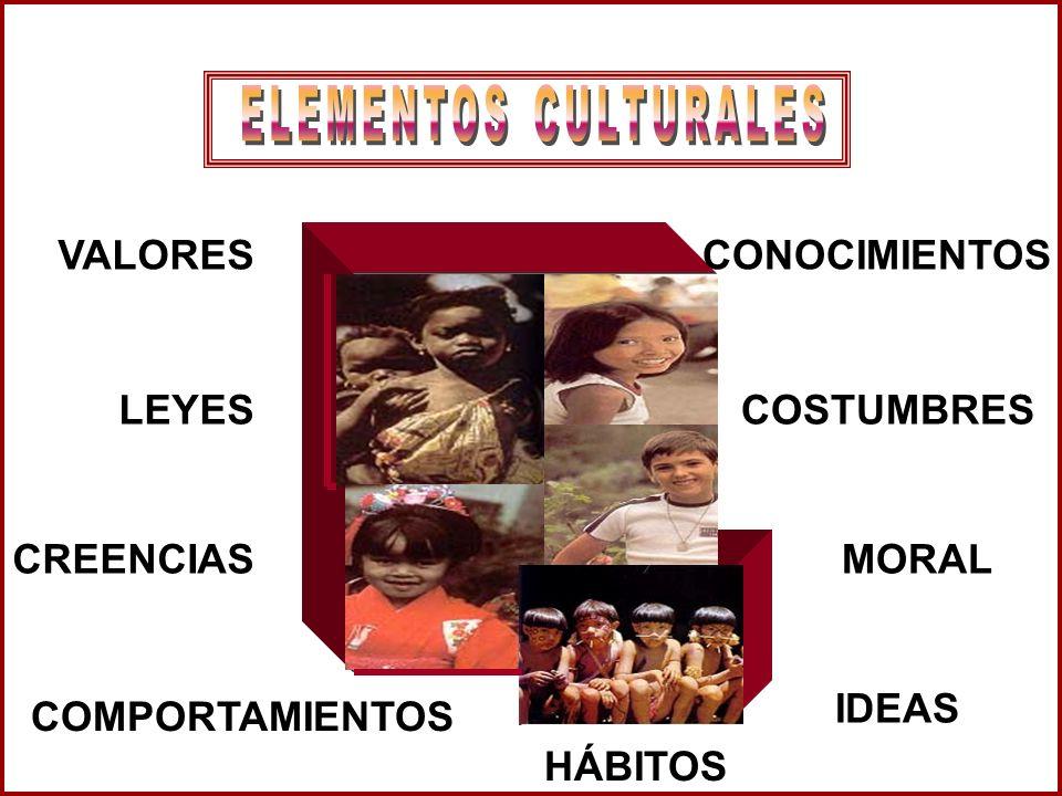 ELEMENTOS CULTURALES VALORES. CONOCIMIENTOS. LEYES. COSTUMBRES. CREENCIAS. MORAL. IDEAS. COMPORTAMIENTOS.