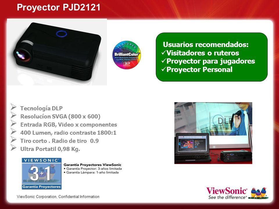 Proyector PJD2121 Usuarios recomendados: Visitadores o ruteros