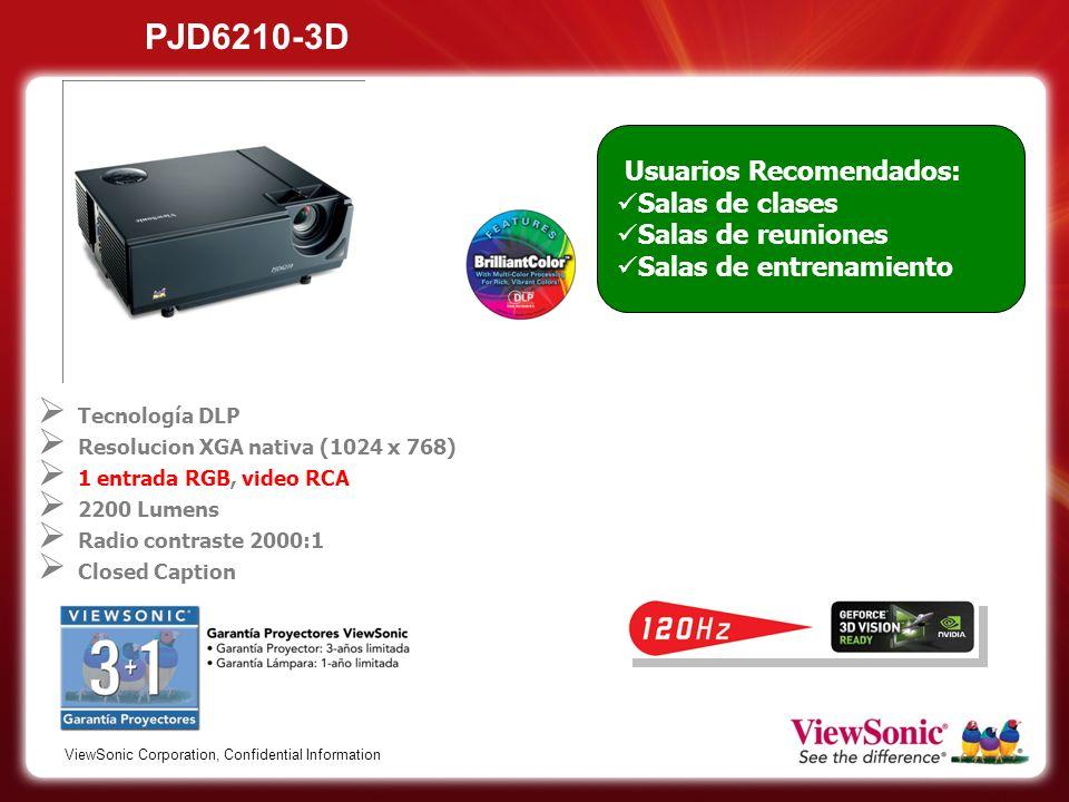 PJD6210-3D Usuarios Recomendados: Salas de clases Salas de reuniones