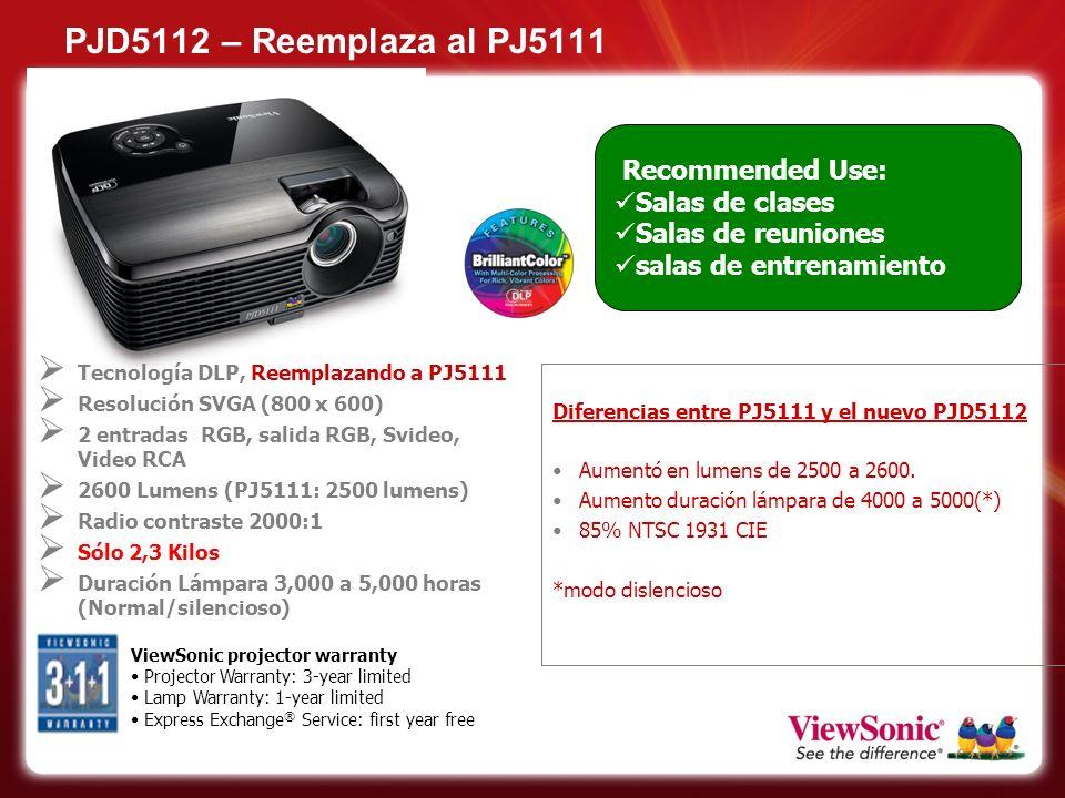 PJD5112 – Reemplaza al PJ5111 Recommended Use: Salas de clases