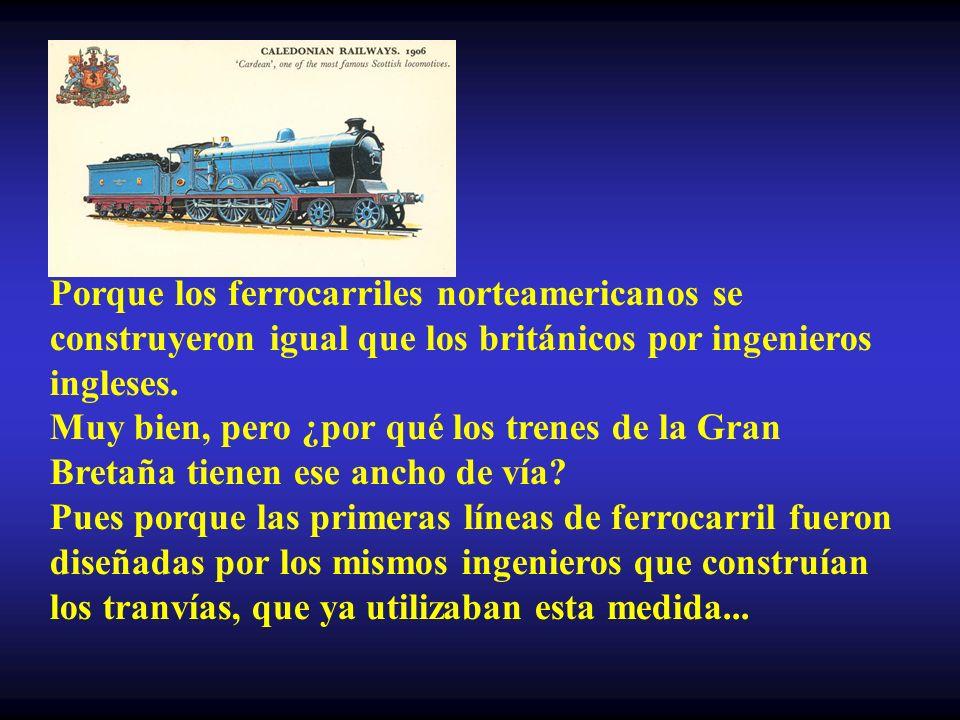 Porque los ferrocarriles norteamericanos se construyeron igual que los británicos por ingenieros ingleses.