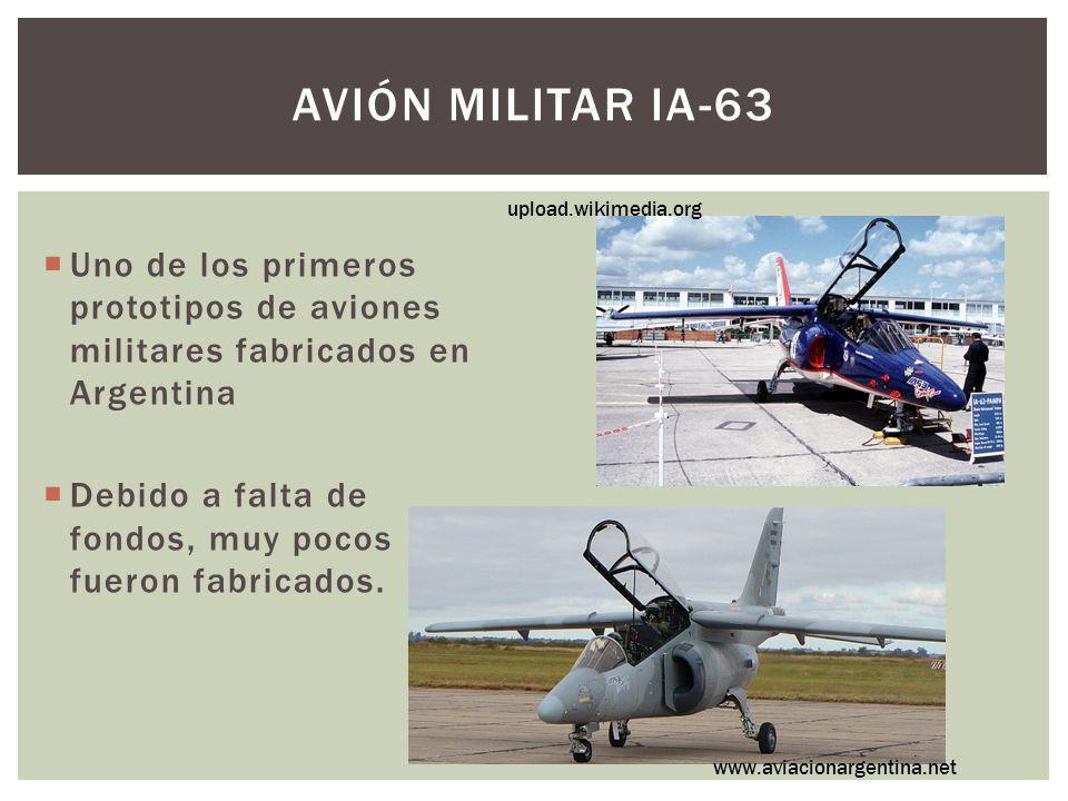 Avión militar IA-63 upload.wikimedia.org. Uno de los primeros prototipos de aviones militares fabricados en Argentina.