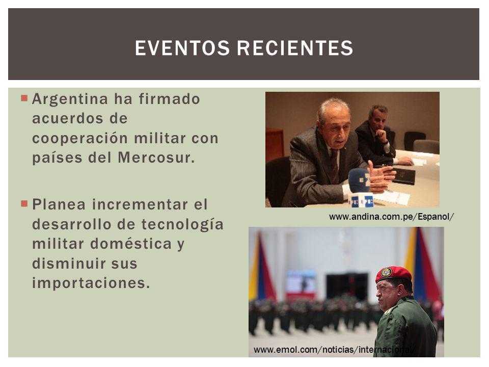 Eventos recientes Argentina ha firmado acuerdos de cooperación militar con países del Mercosur.