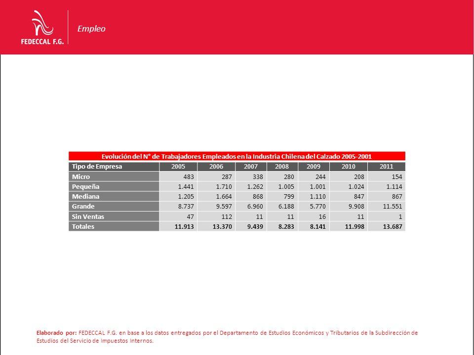 Empleo Evolución del N° de Trabajadores Empleados en la Industria Chilena del Calzado 2005-2001. Tipo de Empresa.