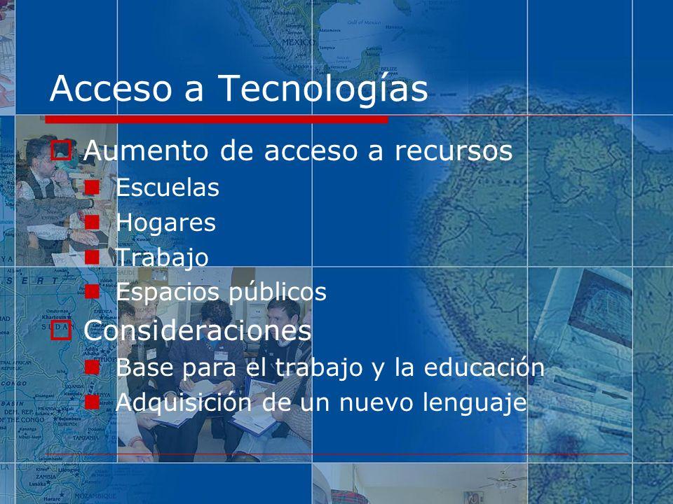 Acceso a Tecnologías Aumento de acceso a recursos Consideraciones