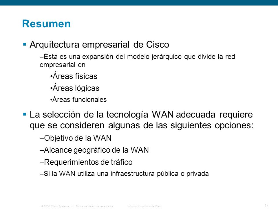 Resumen Arquitectura empresarial de Cisco