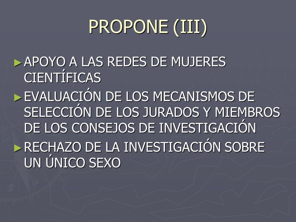 PROPONE (III) APOYO A LAS REDES DE MUJERES CIENTÍFICAS