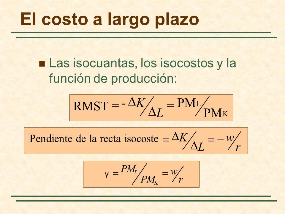 El costo a largo plazo - D K PM RMST = = D L PM