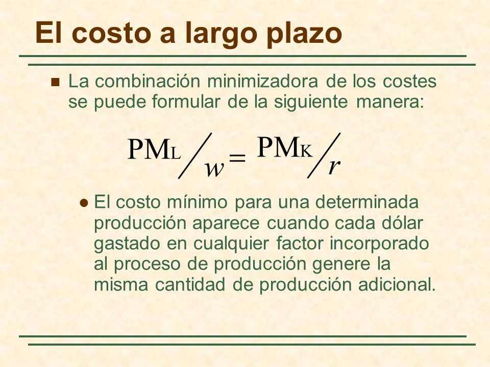 El costo a largo plazo PMK PML = r w