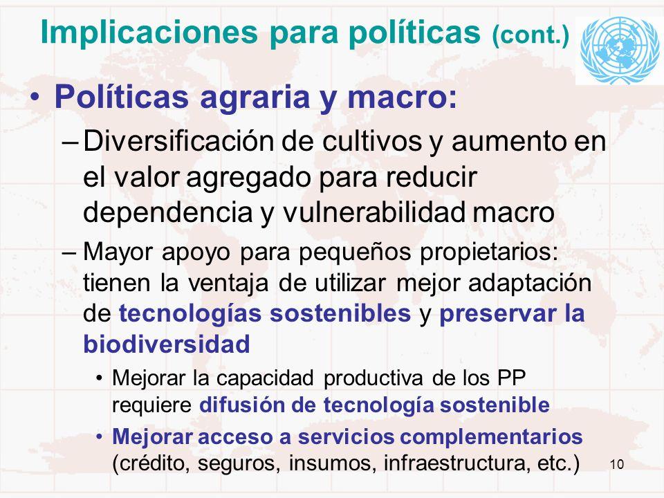 Implicaciones para políticas (cont.)