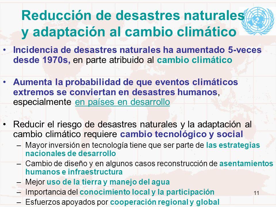 Reducción de desastres naturales y adaptación al cambio climático