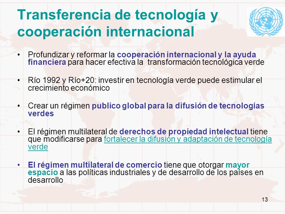 Transferencia de tecnología y cooperación internacional
