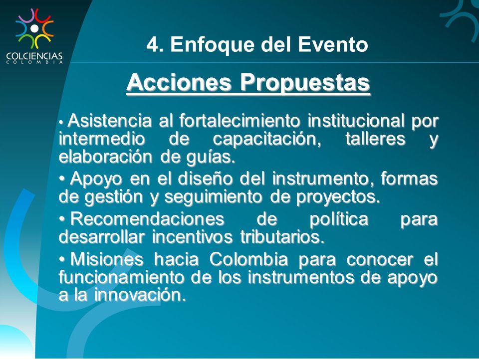 Acciones Propuestas 4. Enfoque del Evento