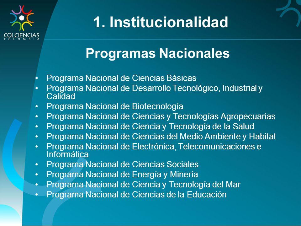 1. Institucionalidad Programas Nacionales
