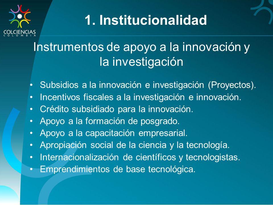 Instrumentos de apoyo a la innovación y la investigación