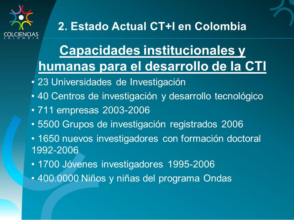 Capacidades institucionales y humanas para el desarrollo de la CTI
