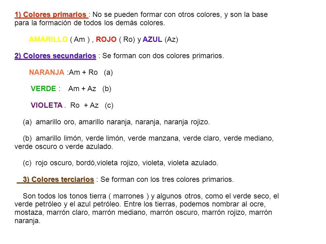 1) Colores primarios : No se pueden formar con otros colores, y son la base para la formación de todos los demás colores.