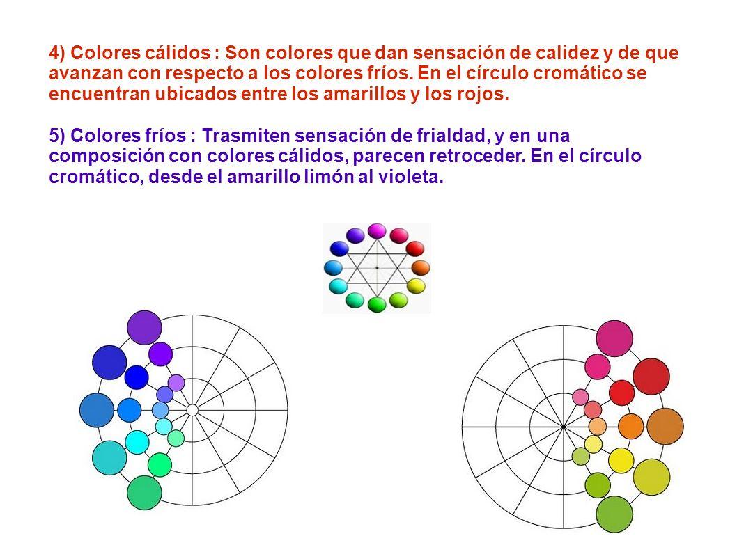 4) Colores cálidos : Son colores que dan sensación de calidez y de que avanzan con respecto a los colores fríos. En el círculo cromático se encuentran ubicados entre los amarillos y los rojos.