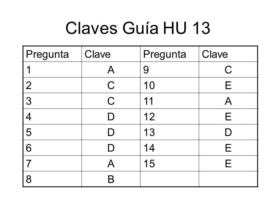 Claves Guía HU 13 Pregunta Clave 1 A 9 C 2 10 E 3 11 4 D 12 5 13 6 14