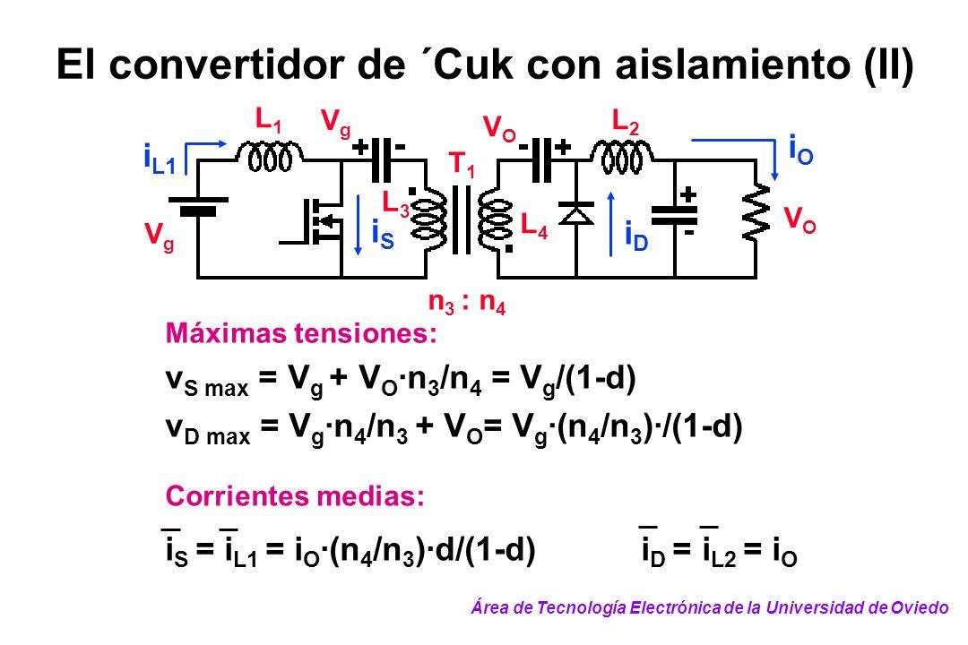 El convertidor de ´Cuk con aislamiento (II)