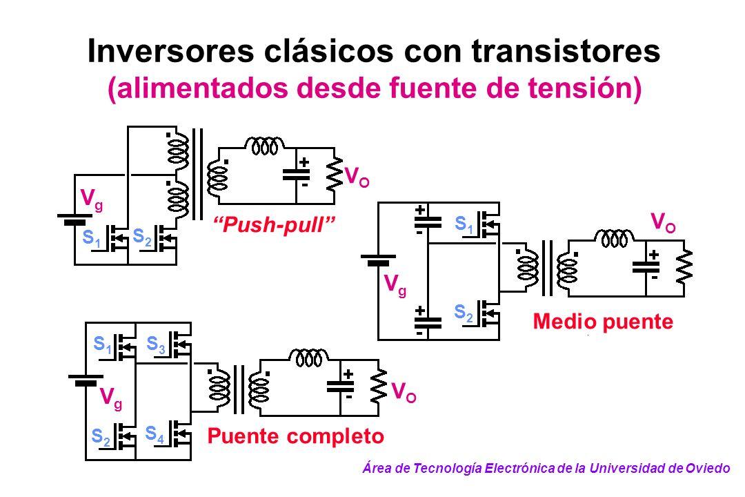 Inversores clásicos con transistores (alimentados desde fuente de tensión)