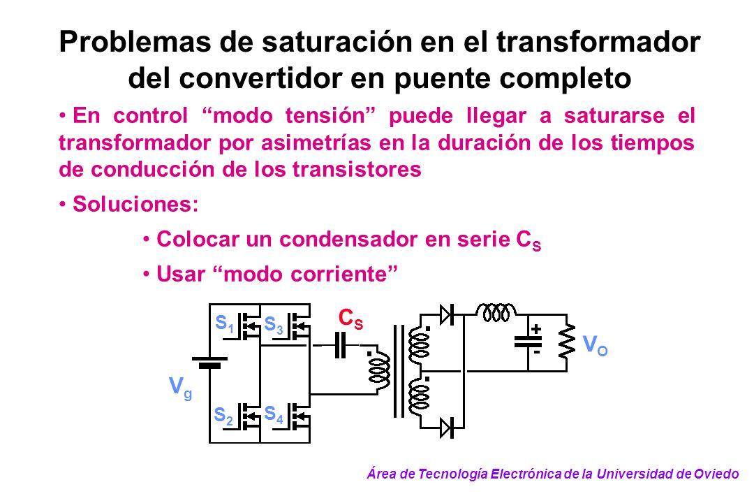 Problemas de saturación en el transformador del convertidor en puente completo