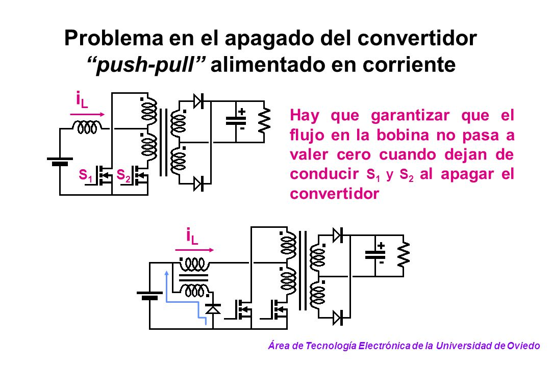 Problema en el apagado del convertidor push-pull alimentado en corriente