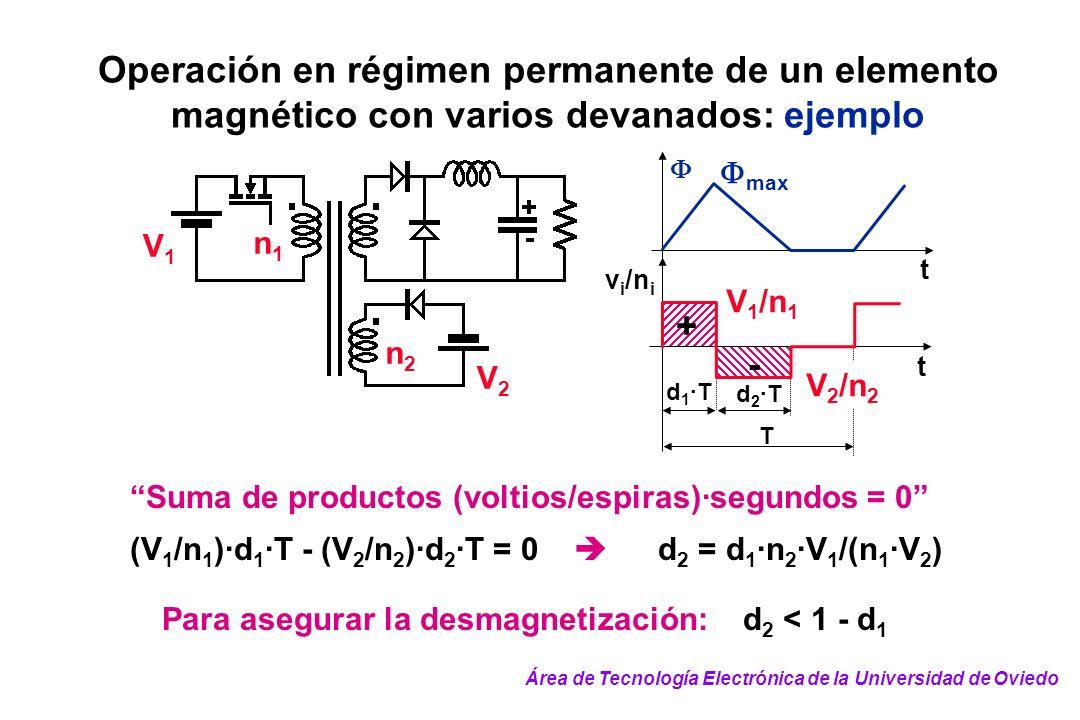Operación en régimen permanente de un elemento magnético con varios devanados: ejemplo