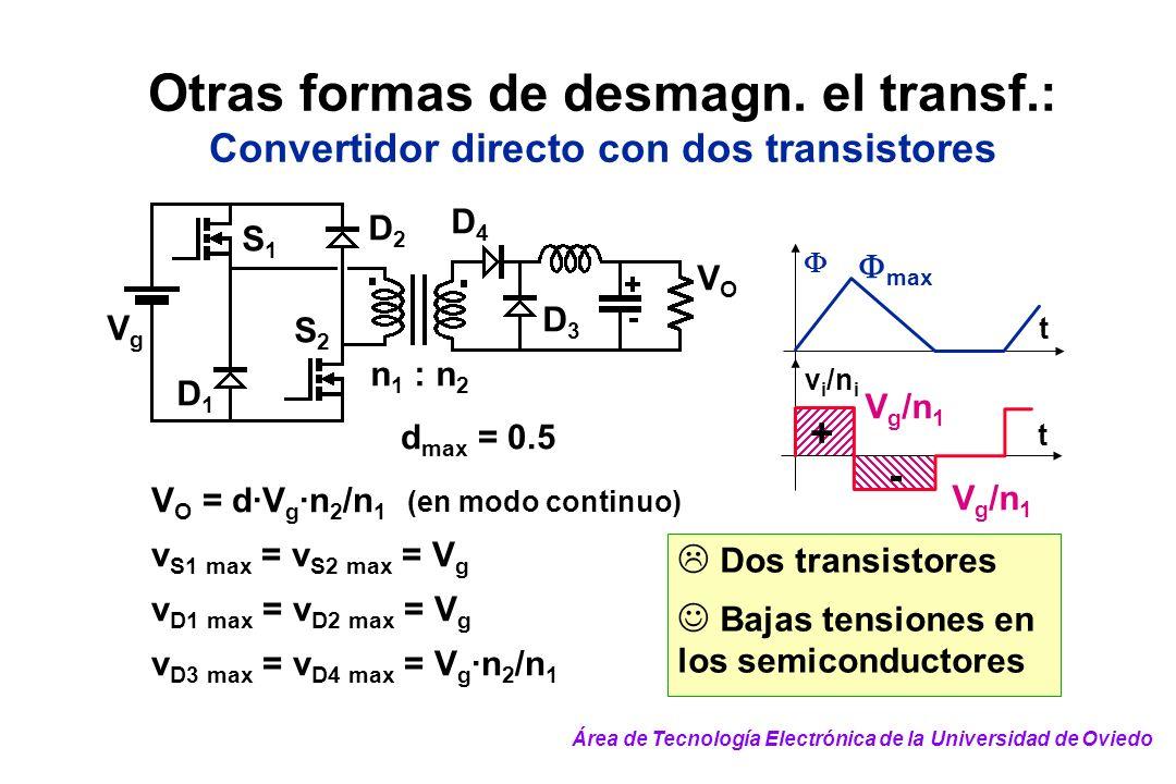 Otras formas de desmagn. el transf