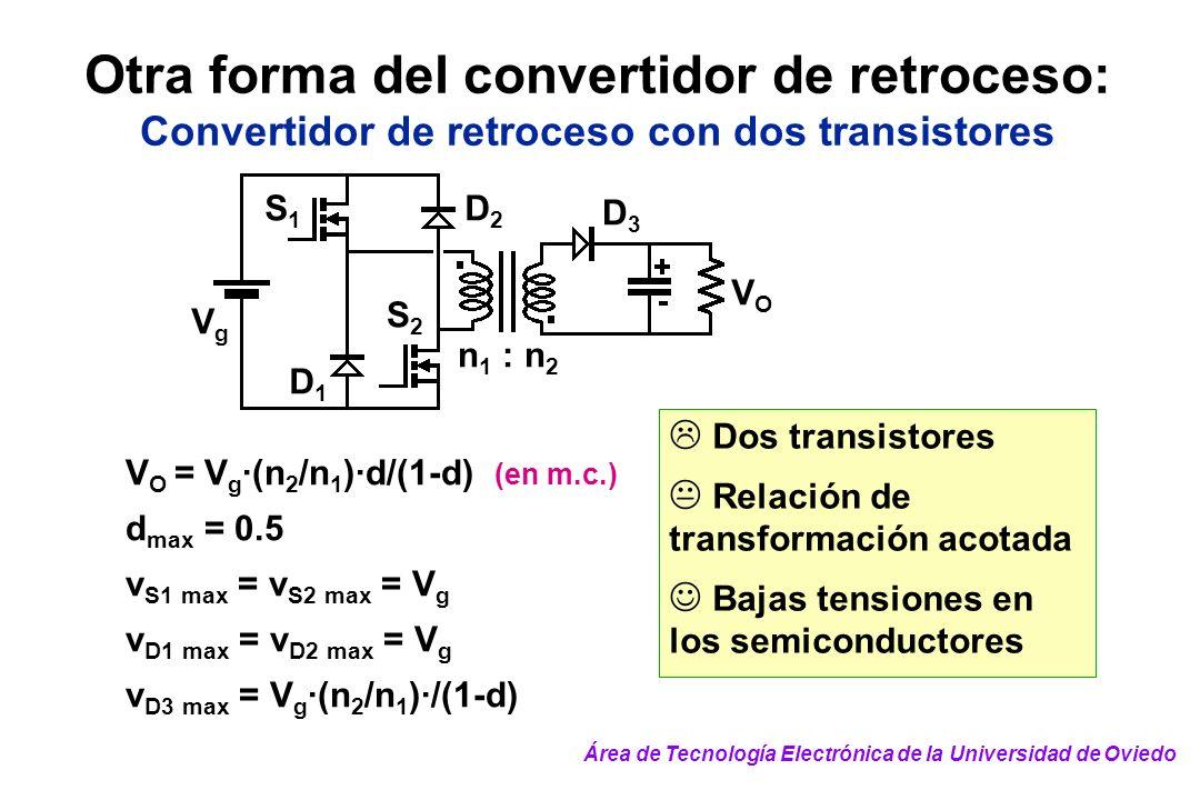 Otra forma del convertidor de retroceso: Convertidor de retroceso con dos transistores