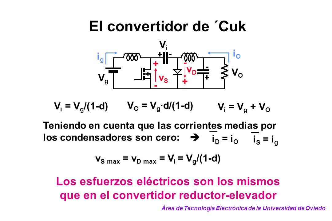 El convertidor de ´Cuk Vi. + - Vg. VO. vD. vS. ig. iO. Vi = Vg/(1-d) VO = Vg·d/(1-d) Vi = Vg + VO.