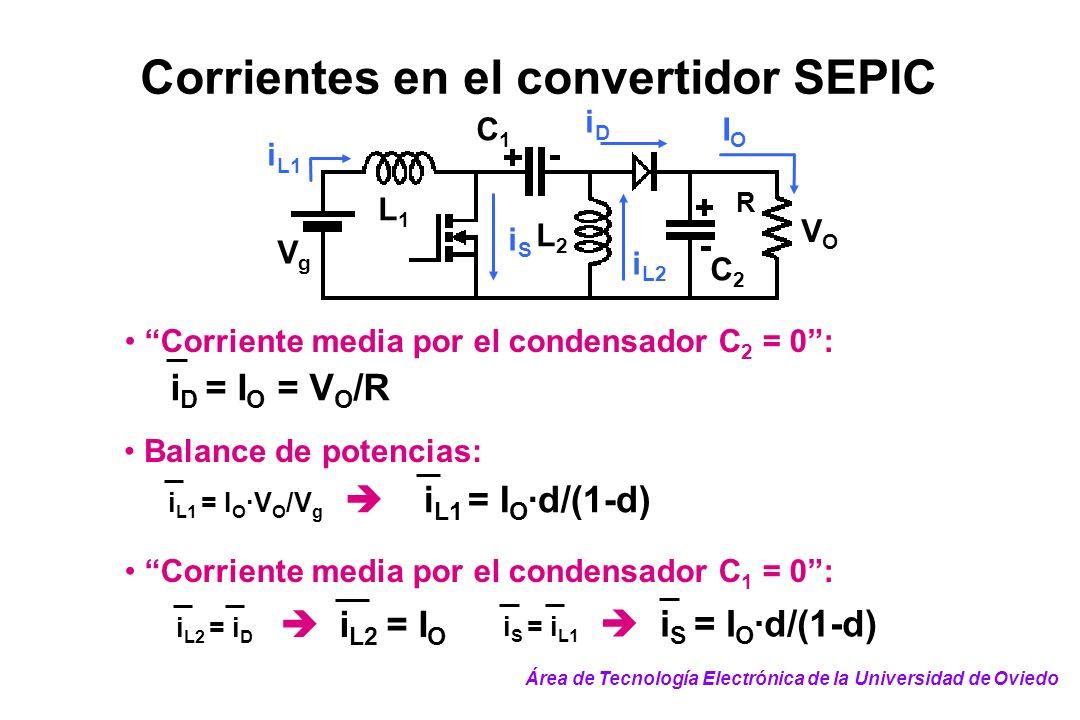 Corrientes en el convertidor SEPIC