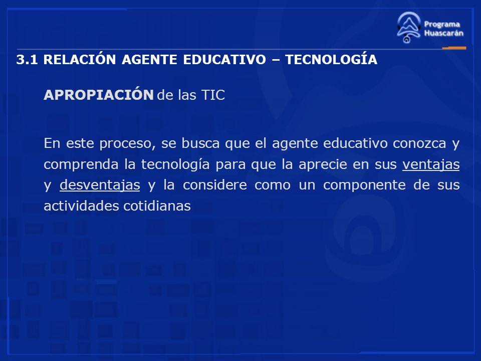 3.1 RELACIÓN AGENTE EDUCATIVO – TECNOLOGÍA