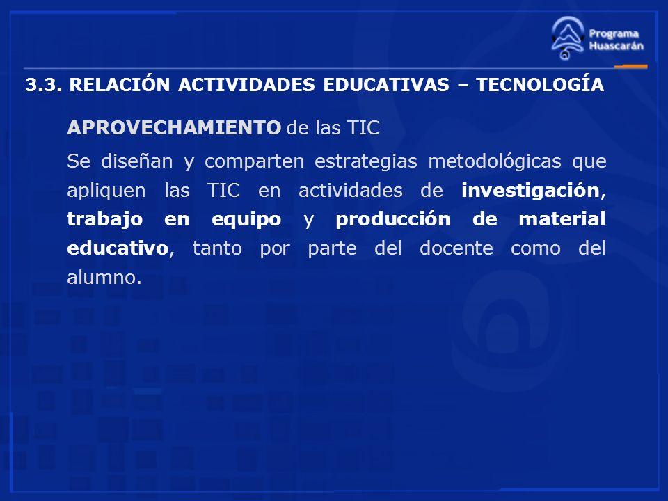 3.3. RELACIÓN ACTIVIDADES EDUCATIVAS – TECNOLOGÍA