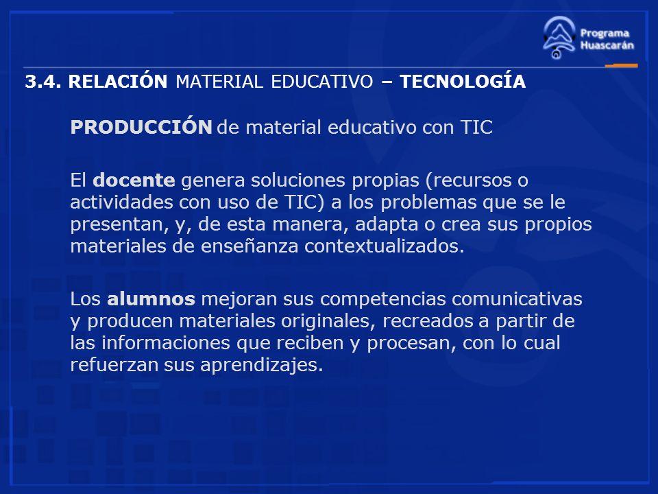 3.4. RELACIÓN MATERIAL EDUCATIVO – TECNOLOGÍA