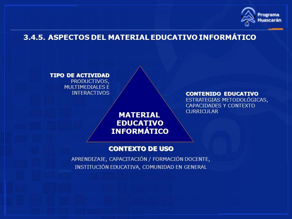3.4.5. ASPECTOS DEL MATERIAL EDUCATIVO INFORMÁTICO