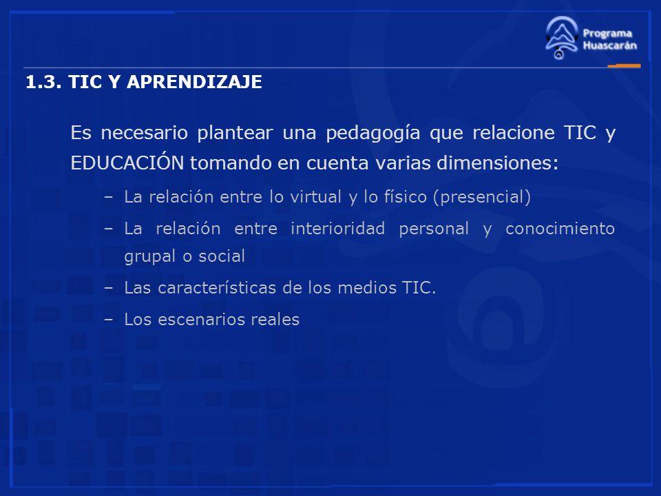 1.3. TIC Y APRENDIZAJE Es necesario plantear una pedagogía que relacione TIC y EDUCACIÓN tomando en cuenta varias dimensiones:
