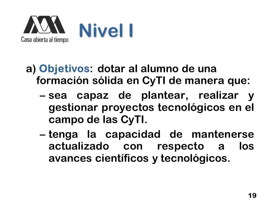 Nivel I a) Objetivos: dotar al alumno de una formación sólida en CyTI de manera que: