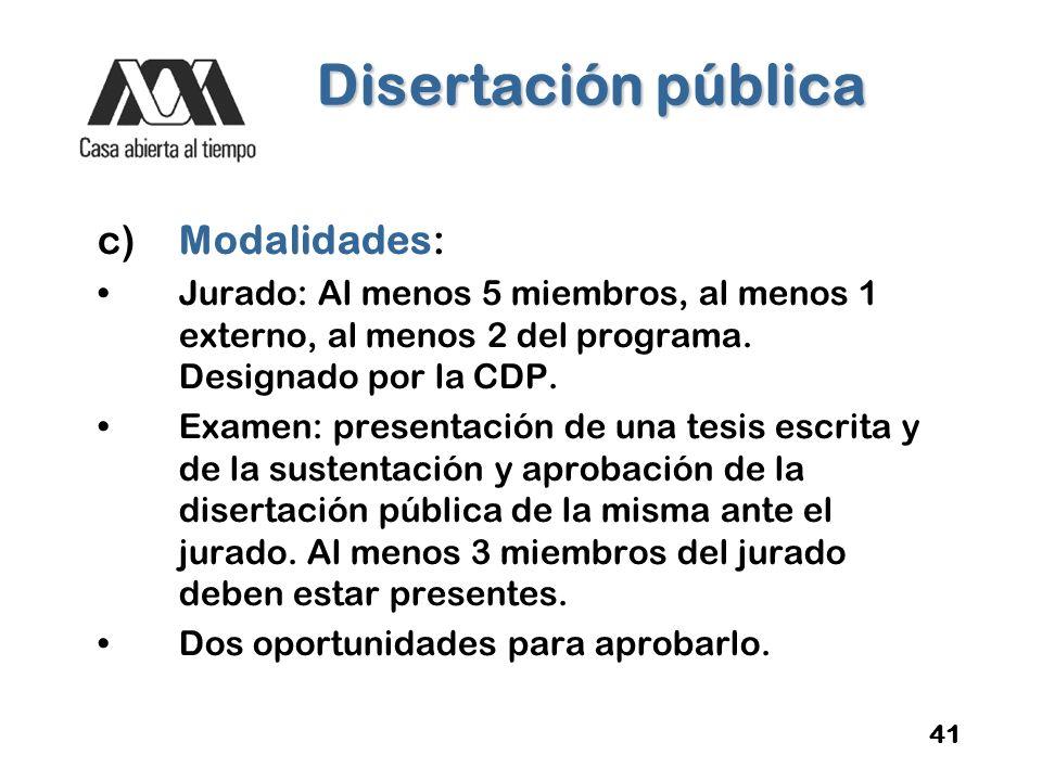 Disertación pública c) Modalidades: