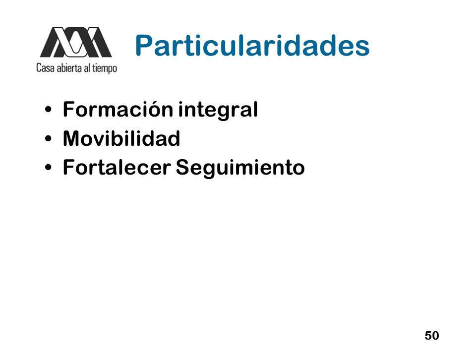Particularidades Formación integral Movibilidad Fortalecer Seguimiento