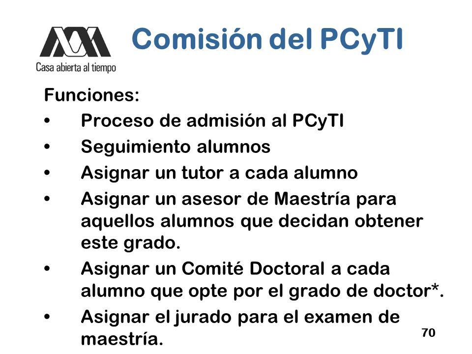 Comisión del PCyTI Funciones: Proceso de admisión al PCyTI
