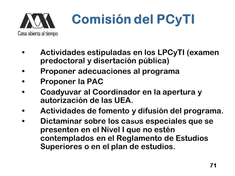 Comisión del PCyTI Actividades estipuladas en los LPCyTI (examen predoctoral y disertación pública)