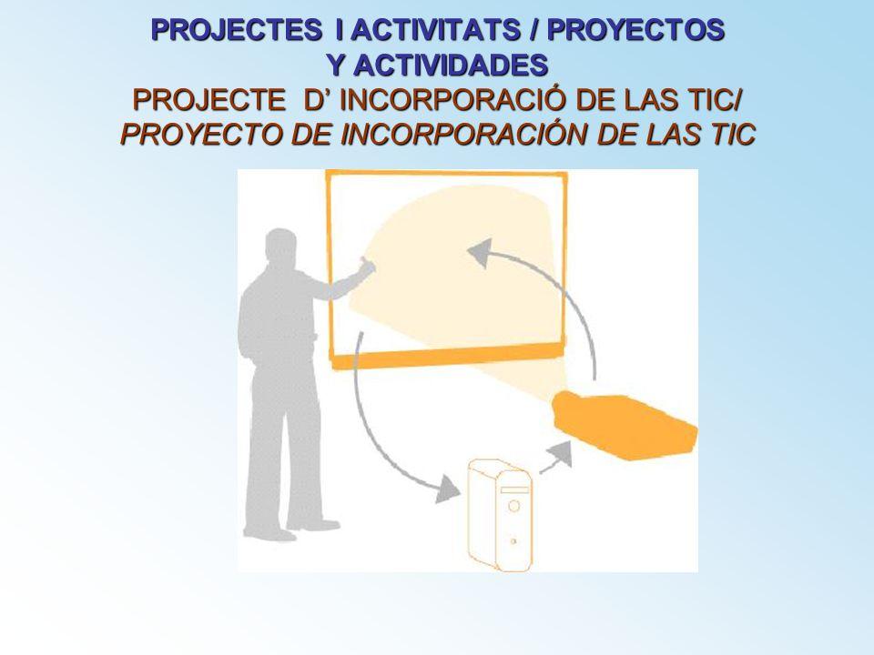PROJECTES I ACTIVITATS / PROYECTOS Y ACTIVIDADES PROJECTE D' INCORPORACIÓ DE LAS TIC/ PROYECTO DE INCORPORACIÓN DE LAS TIC