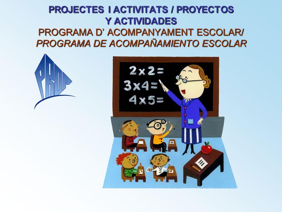 PROJECTES I ACTIVITATS / PROYECTOS Y ACTIVIDADES PROGRAMA D' ACOMPANYAMENT ESCOLAR/ PROGRAMA DE ACOMPAÑAMIENTO ESCOLAR